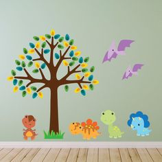 Tree With Baby Dinosaurs Wall Stickers, Dinosaur Wall Decals, Boys Wall Art, Bedroom Wall Transfers - Removable and Repositionable - FA131 by Mirrorin on Etsy https://www.etsy.com/listing/234989219/tree-with-baby-dinosaurs-wall-stickers