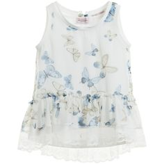 Monnalisa girlsbeautiful sleeveless blouse and vest set that can be worn together or separately. The top is made of light chiffon with a delicate butterfly print and a lace trim round the hem. It has a open back that can be fastened by a popper hidden under a pretty bow and perfect worn with the white soft cotton jersey vest.