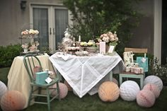I like the faded/neutral colors & the simplicity, which reflects our bride !  Tea Party birdal shower. Gorgeous!