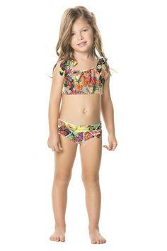 Agua Bendita Manzana Bikini screams summer with its brightly colored print and ruffled accents.  #bikinikids #girlsbikini #designerkids