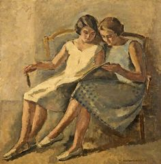Two Girls Reading. Maurice Asselin (French, 1882-1947). Oil on canvas. Cheltenham Art Gallery & Museum. Asselin studied in the atelier of Fernand Cormon at the Beaux-Arts, Paris. Cormon's teaching was academic and old-fashioned, and Asselin drew his inspiration instead from the work of the Impressionists, which he discovered in the Musée du Luxembourg. He was especially influenced by Monet and Cézanne.