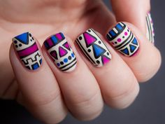 Cool Tribal Nail Art Designs, Tribal nails are created with curving and angular lines. This type of nail art incorporates bold patterns, colors and shapes. Tribal nail art worked t. Tribal Print Nails, Aztec Nail Art, Tribal Nails, Tribal Art, Love Nails, Pretty Nails, Gorgeous Nails, Nail Art Designs, Do It Yourself Nails