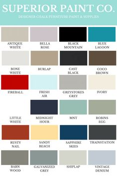 Sample Paint Colour Swatches – Superior Paint Co. Paint Color Chart, Chalk Paint Colors, Paint Color Swatches, Black And Brown, Blue And White, Paint Supplies, Shades Of Teal, Blue Color Schemes, Chalk Paint Furniture