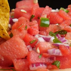 Next time you're having a big barbecue party, or a pool party, make sure this salsa is on your list of recipes to make! I promise this will be a big crowd please'r! It's also great for kids, especially if you have ones that aren't big on spice. Watermelon Appetizer, Watermelon Salsa, Watermelon Recipes, Food For A Crowd, Big Crowd, Summer Party Appetizers, Bbq Menu, Sauces, Cookout Food