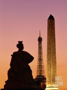 Obelisk of Luxor and Eiffel Tower Photographic Print by Marco Cristofori at Art.com