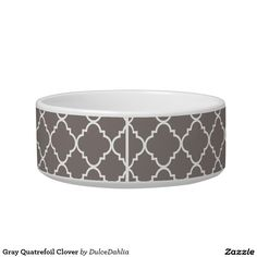 Gray Quatrefoil Clover Cat Bowls