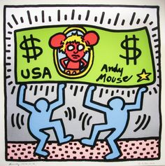 Keith Haring Andy Mouse 1986 print on canvas, print on wood, print on steel or print on paper Edvard Munch, Norman Rockwell, Rembrandt, Matisse, Keith Haring Art, Mondrian Art, Art Moderne, Andy Warhol, Art History
