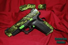 Custom Springfield XDM 9 mm in Proveil Reaper Z (Zombie) and DuraCoat. Slaying in style! Springfield Arms, Springfield Pistols, Smith And Wesson Shield, Reloading Supplies, Zombie Weapons, Zombie Apocalypse, Gun Art, Custom Guns, Home Defense