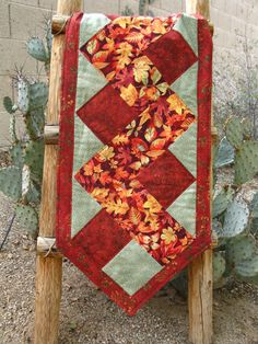 Items similar to Table Runner (14X49 inches), Quilted in Fall Colors - Rust, Orange, Gold, Yellow & Green on Etsy