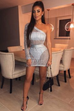 Bad Ideas Silver Metallic Sheer Crochet Lace One Shoulder Long Sleeve Zig Zag Pattern Bodycon Mini Dress – Sold Out - All About Club Outfits For Women, Sexy Outfits, Cute Outfits, Fashion Outfits, Clothes For Women, Dress Fashion, Fashion Games, Boy Fashion, Fashion Design