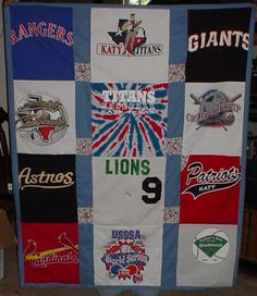 Keeping this T shirt quilt in mind as kids go through all of their old shirts!