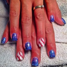 Baseball Nails :) awesome nails! Now I know what to wear for my next twins game Baseball Nail Designs, Baseball Nails, Baseball Mom, Baseball Field, Softball, Nail Polish Designs, Cute Nail Designs, Fancy Nails, Trendy Nails