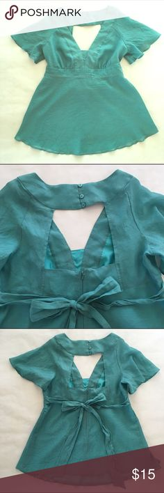 Topshop Maternity Teal Blue Shirt 12 Topshop Maternity Teal Blue Green Keyhole Back Flutter Sleeve Shirt  • Size 12 • Lined • Button back Very good pre-owned condition. Topshop MATERNITY Tops