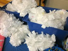 Homemade pom poms from plastic trash bags for a cheerleader bday party