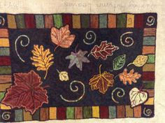 Swirling Autumn Leaves rug hooking pattern 24x36 by LCsWoolnSilk