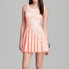 "Guess neon lace fit and flare open back dress Size small neon coral and white lace dress from guess with open back detail! Only wore once in new condition. I'm 5'-4"" and it hits just above my knees Guess Dresses Midi"