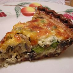 """Asparagus and Mushroom Quiche 