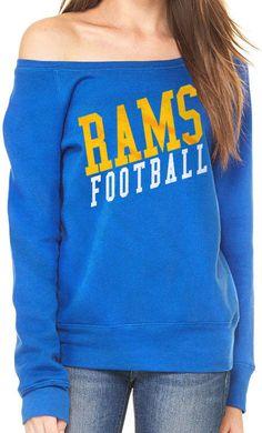 LA Rams Womens Fleece Wideneck Sweatshirt Royal Blue Slouchy Off Shoulder   LosAngelesRams La Rams 60fb89bc87