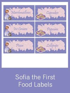 Sofia the First Food Labels - FREE PDF Download