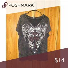 Cross Designed V-Neck Blouse Beautiful top with no size tag. I'm a true 2x size and it fit a tad bit loose. Tops Blouses