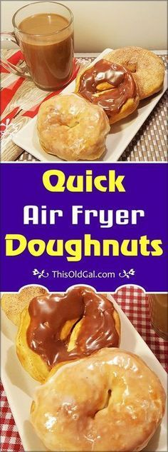 Got a craving for Donuts, but don't want to leave the house? Try these Quick… Got a craving for Donuts, but don't want to leave the house? Try these Quick Air Fryer Doughnuts and enjoy them with your morning coffee. via This Old Gal I Instant Pot Air Fryer Oven Recipes, Air Frier Recipes, Beignets, Air Fryer Doughnut Recipe, Donut Recipes, Cooking Recipes, Coffee Recipes, Bread Recipes, Cooking Tips