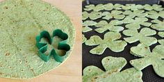 "I love these... shamrock ""chips"" made from spinach tortillas!"