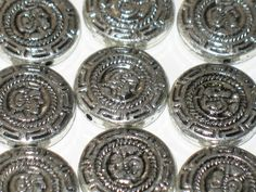Silver Acrylic Round Flat Disc Beads With Aztec by DIYArtMart