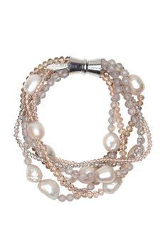 LitaLu Armband 'Hanni' mit Perlen beige