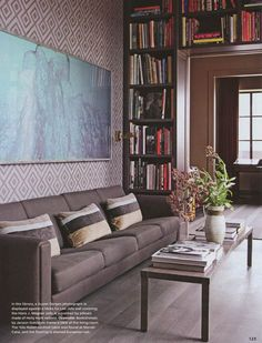 library--good use of wall space for books...minimize visual clutter from outside the room