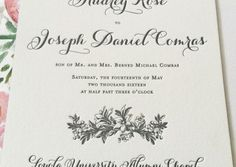 Obsessed with this letterpress wedding invitation with floral liner