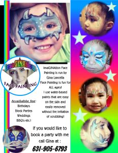 Looking for a local face painter on Long Island?  Book a fellow Momee Friend, Gina to face paint at your next event. Her prices are reasonable and her talent is impeccable!