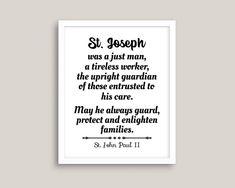 St. Joseph Print St. John Paul II quote St Joseph the   Etsy Saints, St John Paul Ii, Saint Quotes, Catholic Art, St Joseph, Keep In Mind, Printing Process, Messages, Etsy