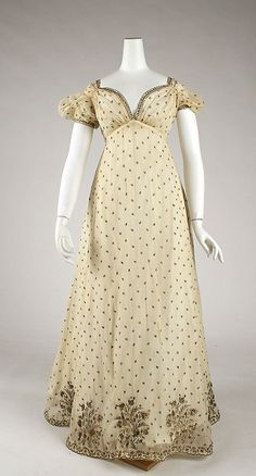 Evening Dress 1810, French, Made of cotton