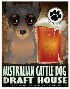 Australian Cattle Dog Drinking Original Art Poster Print - Personalized Dog Art -11x14- Customize with Your Dog's Name - Dogs Incorporated
