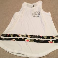 PNL MUSCLE TANK WITH BLING *brand new Super cute summer style with bling on the back. Fun floral detail on front bottom PINK Victoria's Secret Tops Tank Tops