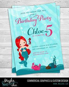 Printable Mermaid Invitations, 4x6 or 5x7 Custom Turquoise & Pink Little Mermaid Under sea Party Invitation by mujka on Etsy