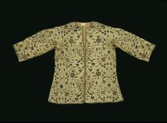 Ivory silk embroidered with coloured silk thread, silver and silver-gilt thread and spangles, lined with silk shag    Another example embroidered on silk. The silk shag lining is also interesting.