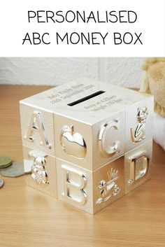 Personalise our beautiful silver plated ABC Money Box with any message over 4 lines and up to 20 characters per line for a truly unique gift.