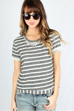 Bejeweled Stripe Top $32.99 #bejeweled #striped #top #sophieandtrey