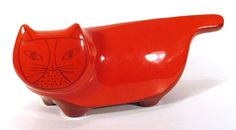 1960s Scarce Vintage BALDELLI Italy CAT BANK Fire Red Orange Mid-Century Modern #Baldelli