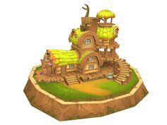 카페 Bg Design, Game Design, Environment Concept Art, Environment Design, Maya Modeling, Cartoon House, House Games, Fantasy Model, Isometric Art