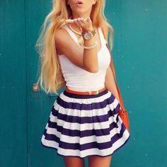 plain tank top with navy skater skirt | white navy or dark blue | spring summer casual romantic