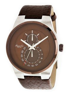 Men's Round Stainless Steel & Brown Watch by Kenneth Cole Watches at Gilt