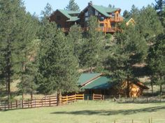 Colorado Log Home & Guest House Bordering National Forest For Sale Horse Ranch, Race Horses, Horse Farms, National Forest, Log Homes, Farming, Montana, Layouts, Colorado