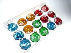 Vintage Christmas Ornaments Stenciled Set of 15 by ChromaticWit