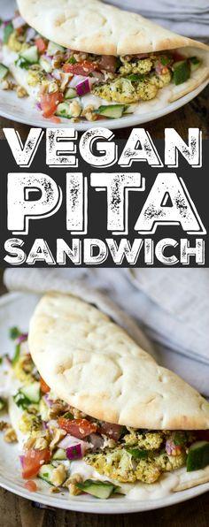 Vegan Pita Sandwiches: made with zaatar roasted cauliflower, Jerusalem salad, and an easy tahini sauce. The perfect vegan lunch!