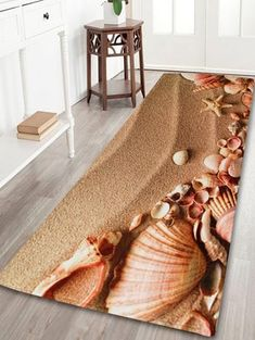 Non-slip Beach Shell Coral Velvet Bathroom Rug - BROWN W24 INCH * L71 INCH