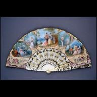 "Folding fan, revival style 1850-1870 Origin: Europe Spread: 20""; Length: 10 1/2"" Ivory, wove paper, paint, gilding, wood Museum Purchase Acc..."