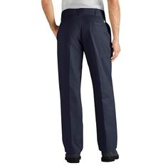 Dickies Men's Regular Straight Fit Flex Twill Pants- Dark Navy 42x32, Durable