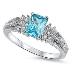 Classic Designer Rectangular Blue Simulated Topaz Cubic Zirconia Ring Sterling Silver 925 >>> Additional details at the pin image, click it : Jewelry Ring Statement Emerald Wedding Rings, Anniversary Jewelry, Silver Tops, Square Rings, Blue Topaz Ring, Sterling Silver Rings, Engagement Rings, Wedding Engagement, Emerald Cut